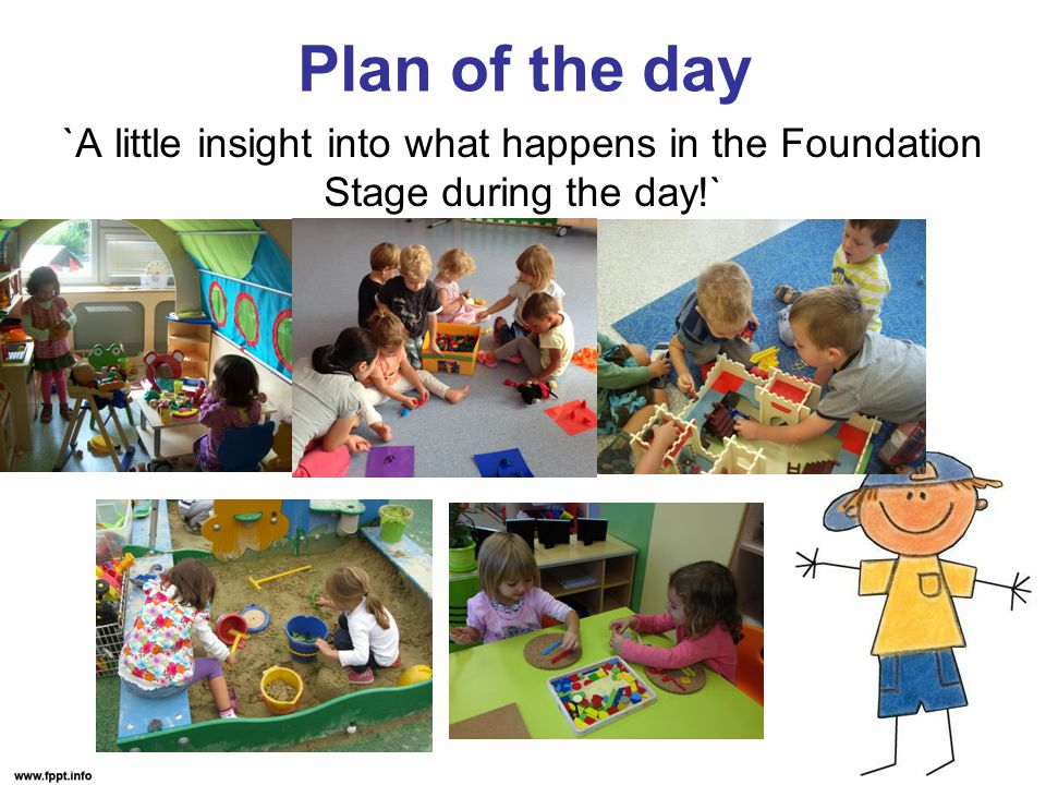 Plan of the day `A little insight into what happens in the Foundation Stage during the day!`