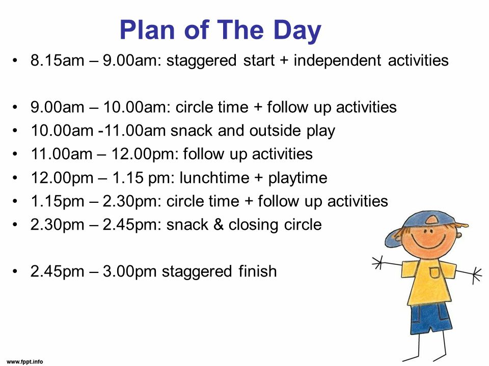 Plan of The Day 8.15am – 9.00am: staggered start + independent activities 9.00am – 10.00am: circle time + follow up activities 10.00am -11.00am snack and outside play 11.00am – 12.00pm: follow up activities 12.00pm – 1.15 pm: lunchtime + playtime 1.15pm – 2.30pm: circle time + follow up activities 2.30pm – 2.45pm: snack & closing circle 2.45pm – 3.00pm staggered finish