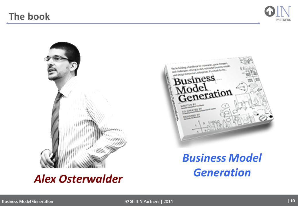Alex Osterwalder Business Model Generation | 10 Business Model Generation© ShiftIN Partners | 2014 The book
