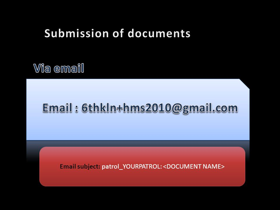 Email subject: patrol_YOURPATROL: