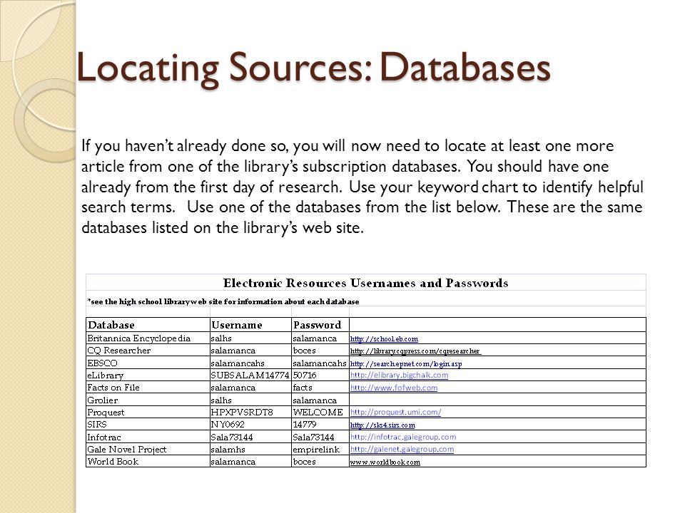Locating Sources: Databases If you haven't already done so, you will now need to locate at least one more article from one of the library's subscripti