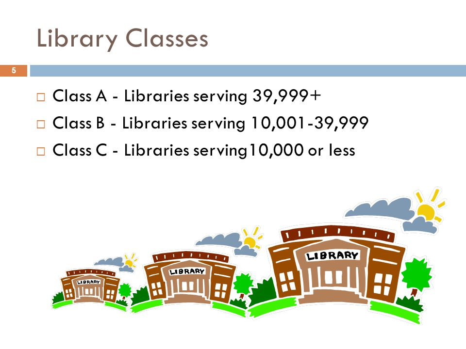 Library Classes 5  Class A - Libraries serving 39,999+  Class B - Libraries serving 10,001-39,999  Class C - Libraries serving10,000 or less