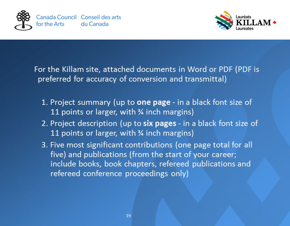 For the Killam site, attached documents in Word or PDF (PDF is preferred for accuracy of conversion and transmittal) 1.