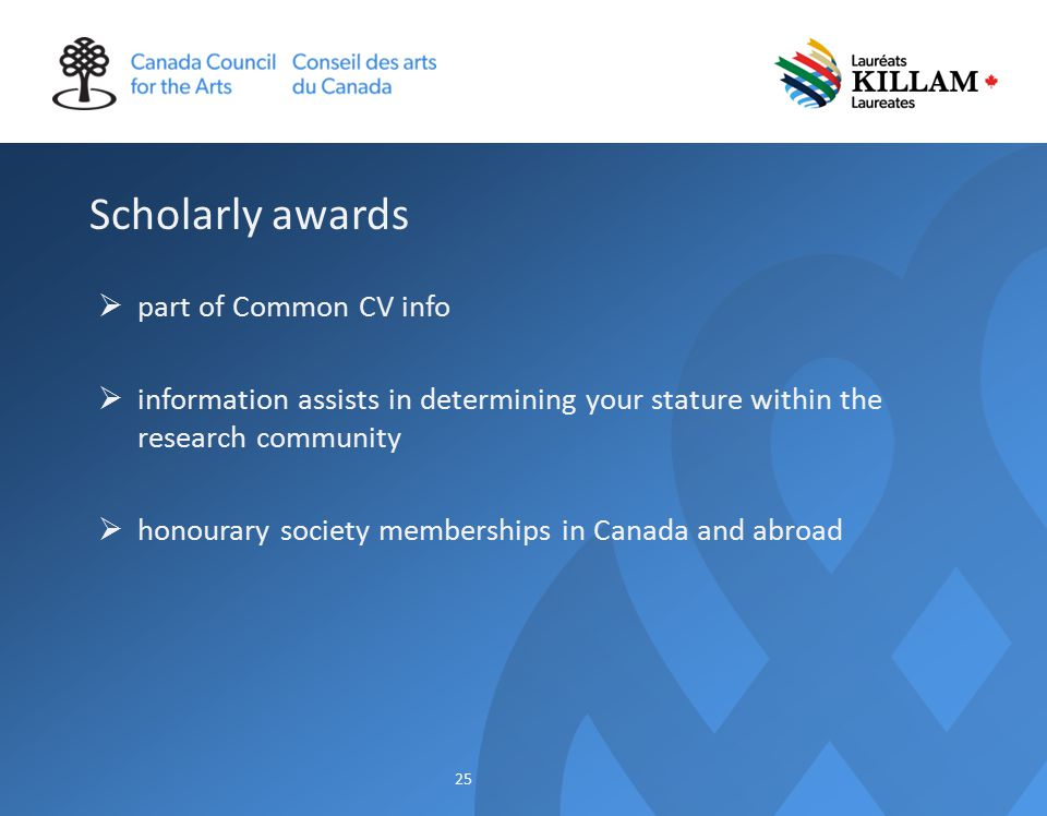 Scholarly awards  part of Common CV info  information assists in determining your stature within the research community  honourary society memberships in Canada and abroad 25