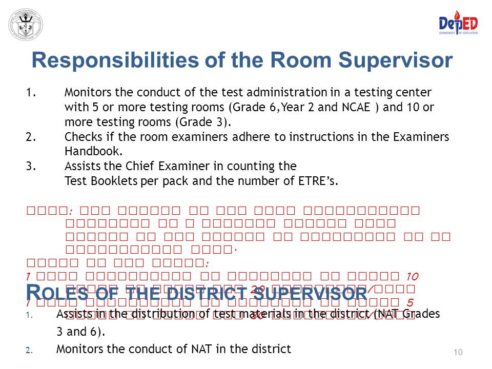 Responsibilities of the Room Supervisor 1.Monitors the conduct of the test administration in a testing center with 5 or more testing rooms (Grade 6,Ye