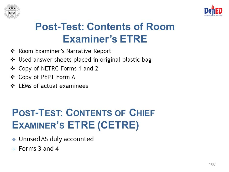 Post-Test: Contents of Room Examiner's ETRE  Room Examiner's Narrative Report  Used answer sheets placed in original plastic bag  Copy of NETRC For