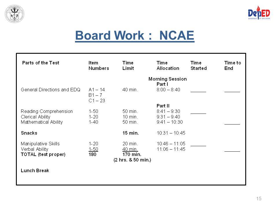 Board Work : NCAE 15