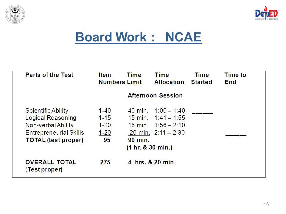 Board Work : NCAE 16