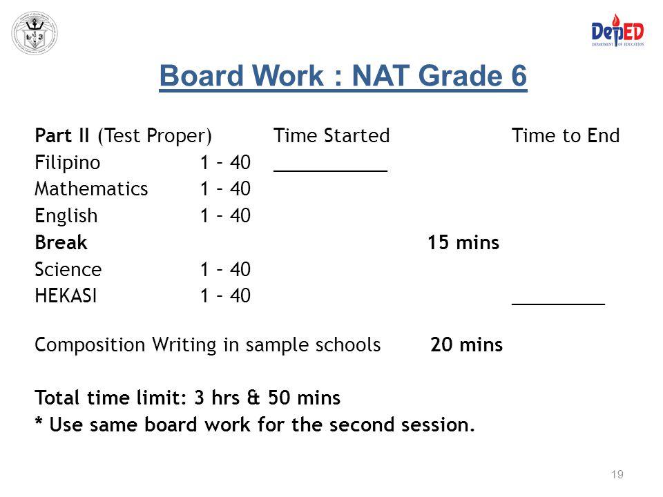 Board Work : NAT Grade 6 Part II (Test Proper)Time StartedTime to End Filipino 1 – 40___________ Mathematics 1 – 40 English 1 – 40 Break 15 mins Scien