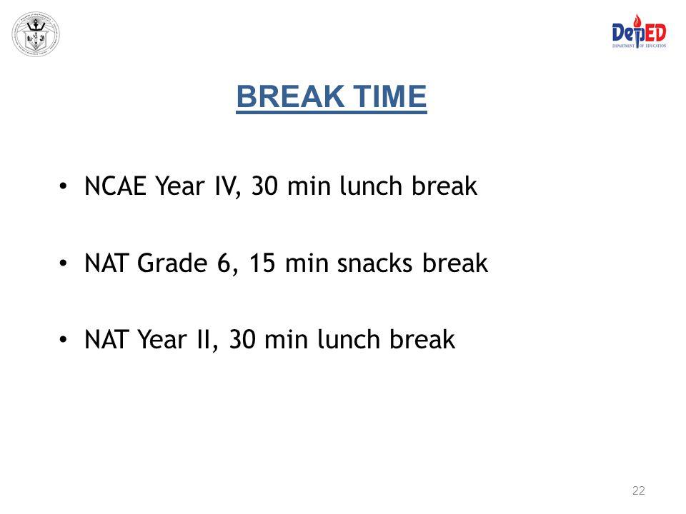 BREAK TIME NCAE Year IV, 30 min lunch break NAT Grade 6, 15 min snacks break NAT Year II, 30 min lunch break 22