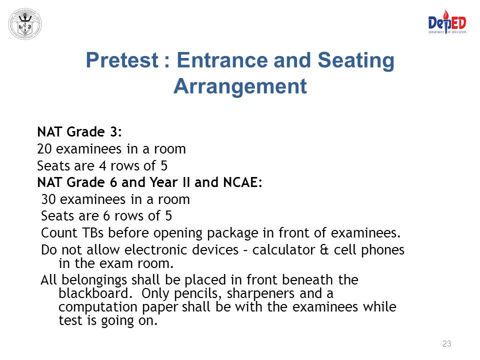 Pretest : Entrance and Seating Arrangement NAT Grade 3: 20 examinees in a room Seats are 4 rows of 5 NAT Grade 6 and Year II and NCAE: 30 examinees in