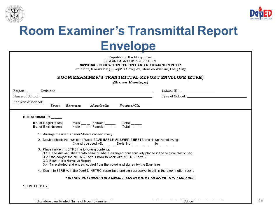 Room Examiner's Transmittal Report Envelope 49