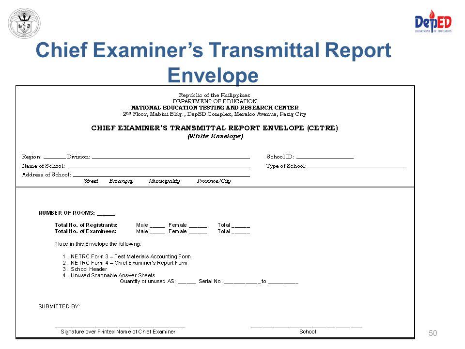 Chief Examiner's Transmittal Report Envelope 50