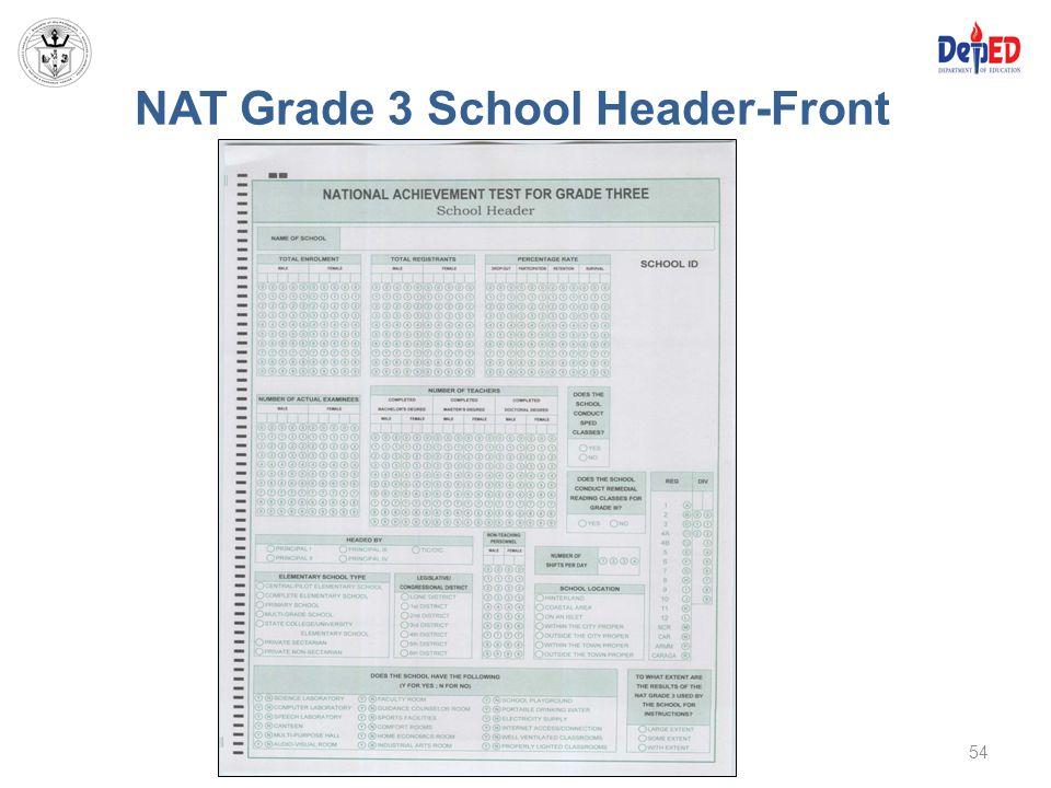 NAT Grade 3 School Header-Front 54