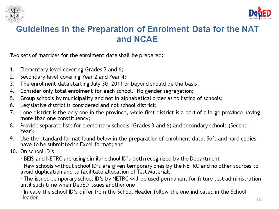 Guidelines in the Preparation of Enrolment Data for the NAT and NCAE Two sets of matrices for the enrolment data shall be prepared: 1.Elementary level
