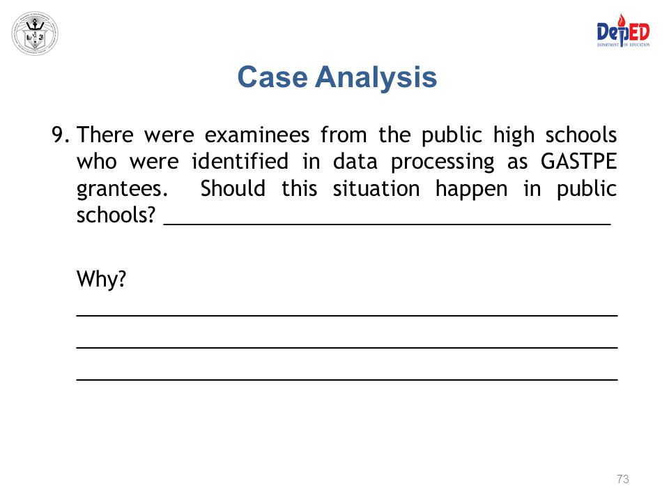 Case Analysis 9.There were examinees from the public high schools who were identified in data processing as GASTPE grantees. Should this situation hap