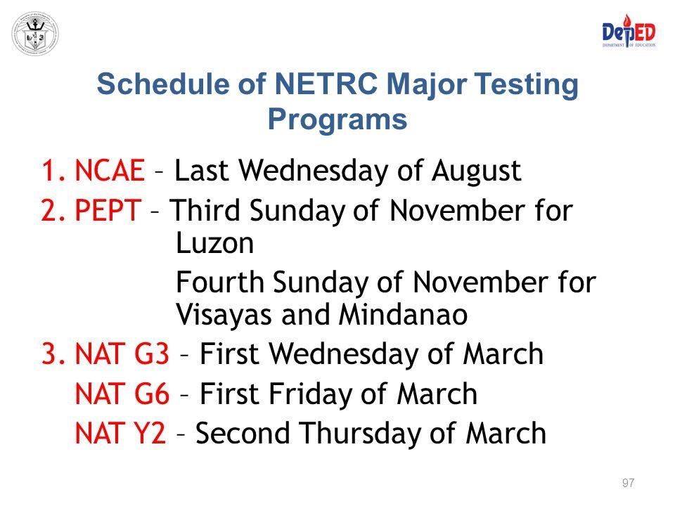 Schedule of NETRC Major Testing Programs 1.NCAE – Last Wednesday of August 2.PEPT – Third Sunday of November for Luzon Fourth Sunday of November for V