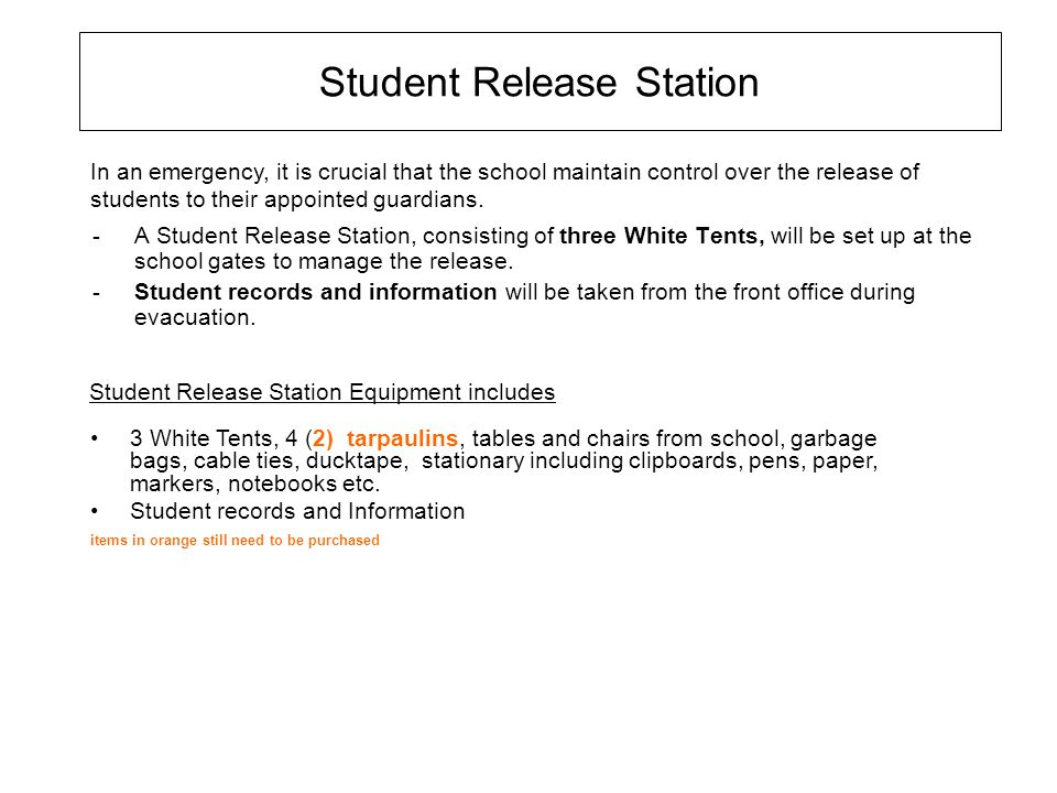 Student Release Station -A Student Release Station, consisting of three White Tents, will be set up at the school gates to manage the release. -Studen