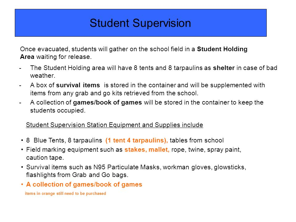 Student Supervision -The Student Holding area will have 8 tents and 8 tarpaulins as shelter in case of bad weather. -A box of survival items is stored