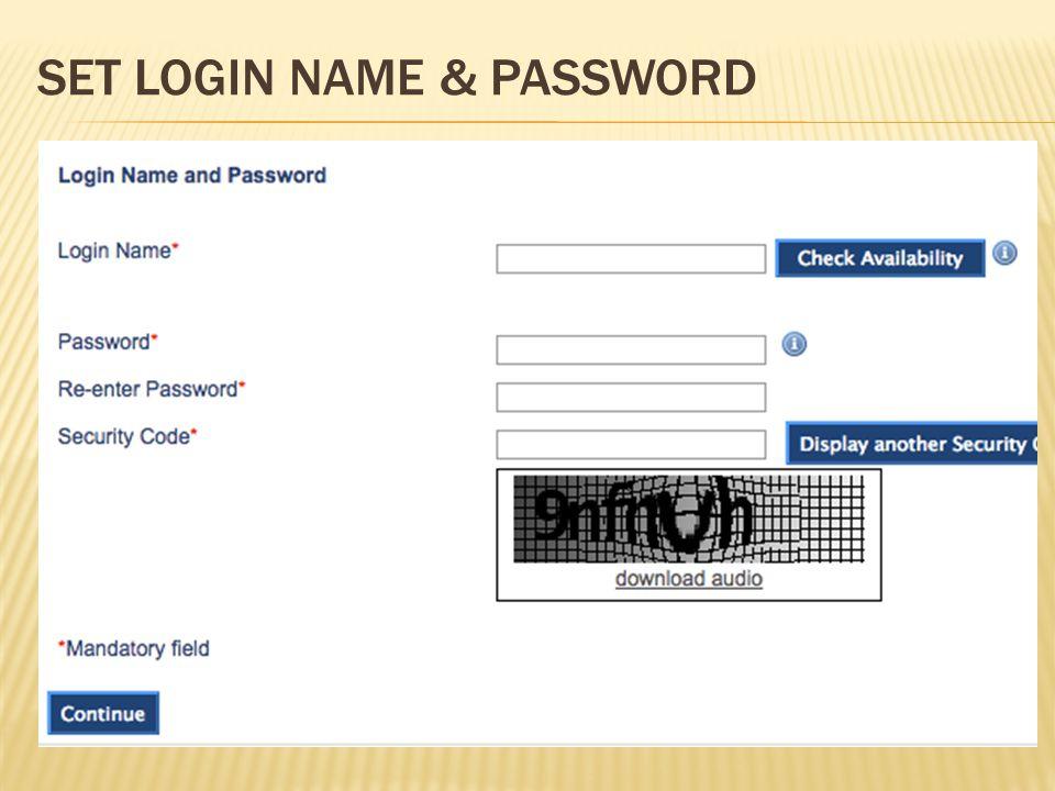 SET LOGIN NAME & PASSWORD