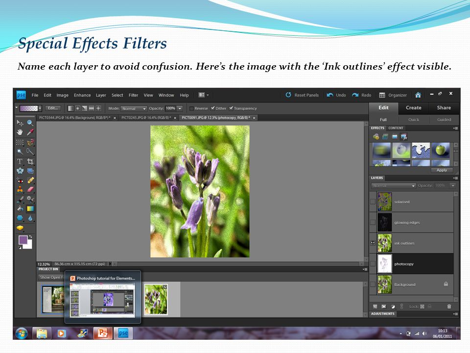 Special Effects Filters Name each layer to avoid confusion.