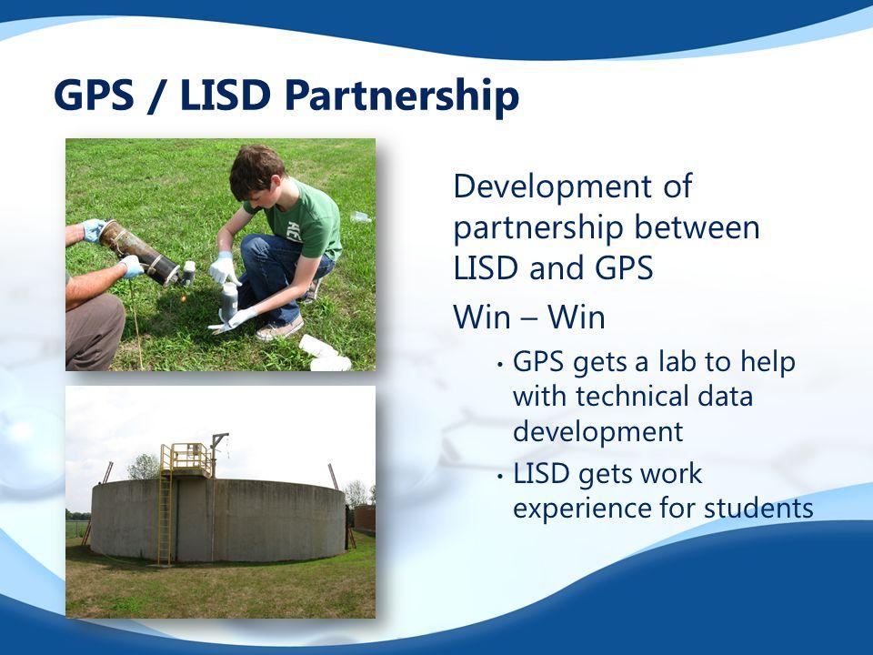 GPS / LISD Partnership Development of partnership between LISD and GPS Win – Win GPS gets a lab to help with technical data development LISD gets work