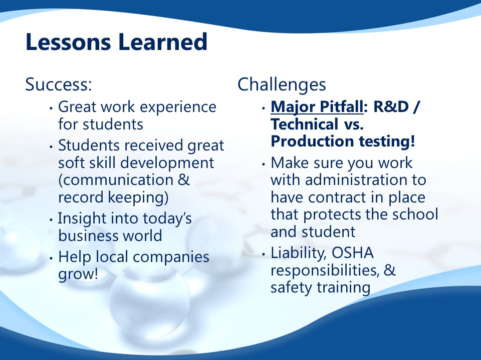 Lessons Learned Success: Great work experience for students Students received great soft skill development (communication & record keeping) Insight into today's business world Help local companies grow.