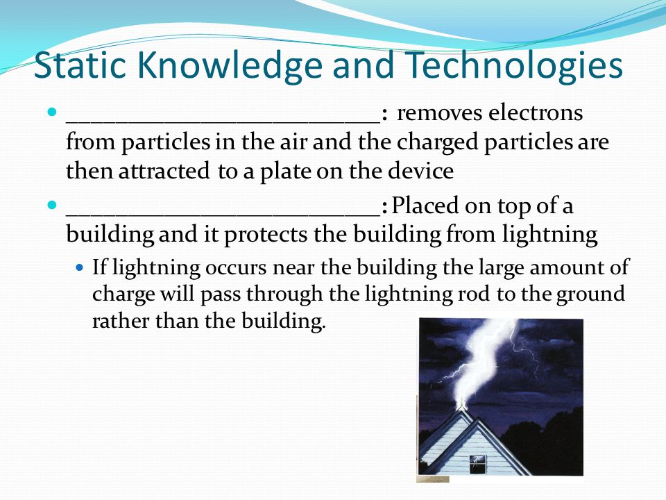 Static Knowledge and Technologies __________________________: removes electrons from particles in the air and the charged particles are then attracted