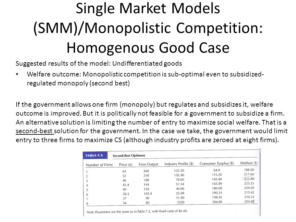 Single Market Models (SMM)/Monopolistic Competition: Homogenous Good Case Suggested results of the model: Undifferentiated goods Welfare outcome: Monopolistic competition is sub-optimal even to subsidized- regulated monopoly (second best) If the government allows one firm (monopoly) but regulates and subsidizes it, welfare outcome is improved.