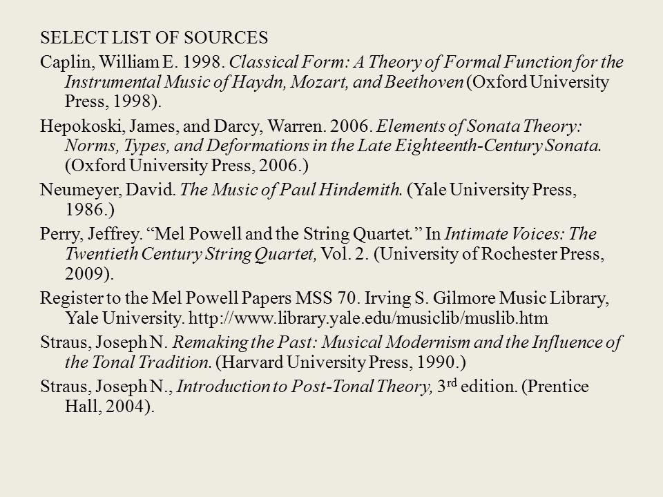 SELECT LIST OF SOURCES Caplin, William E. 1998.