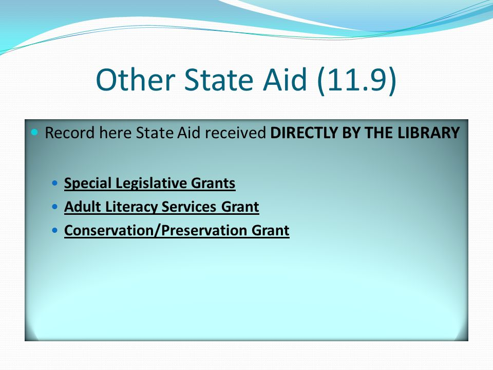 Other State Aid (11.9) Record here State Aid received DIRECTLY BY THE LIBRARY Special Legislative Grants Adult Literacy Services Grant Conservation/Preservation Grant