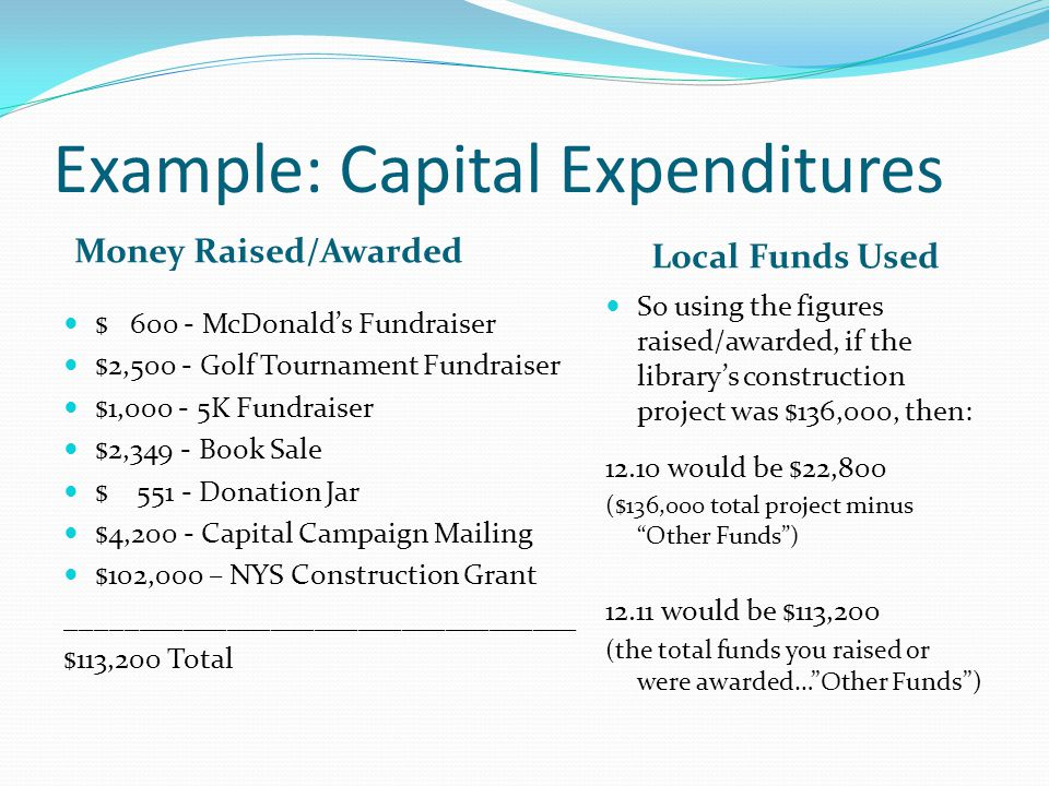 Example: Capital Expenditures Money Raised/Awarded Local Funds Used $ 600 - McDonald's Fundraiser $2,500 - Golf Tournament Fundraiser $1,000 - 5K Fundraiser $2,349 - Book Sale $ 551 - Donation Jar $4,200 - Capital Campaign Mailing $102,000 – NYS Construction Grant ___________________________________ $113,200 Total So using the figures raised/awarded, if the library's construction project was $136,000, then: 12.10 would be $22,800 ($136,000 total project minus Other Funds ) 12.11 would be $113,200 (the total funds you raised or were awarded… Other Funds )