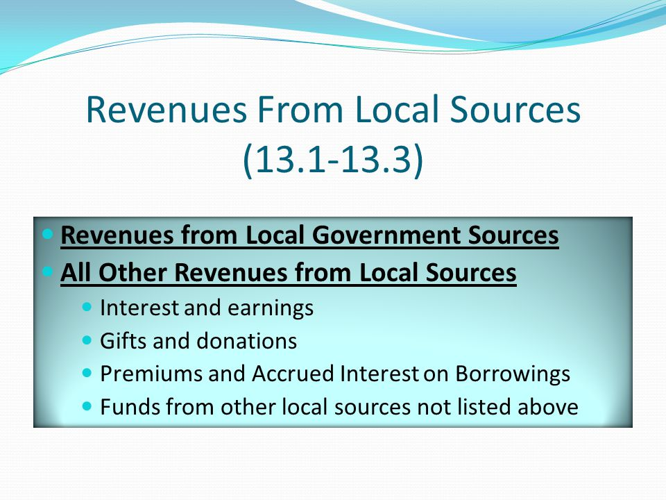Revenues From Local Sources (13.1-13.3) Revenues from Local Government Sources All Other Revenues from Local Sources Interest and earnings Gifts and donations Premiums and Accrued Interest on Borrowings Funds from other local sources not listed above