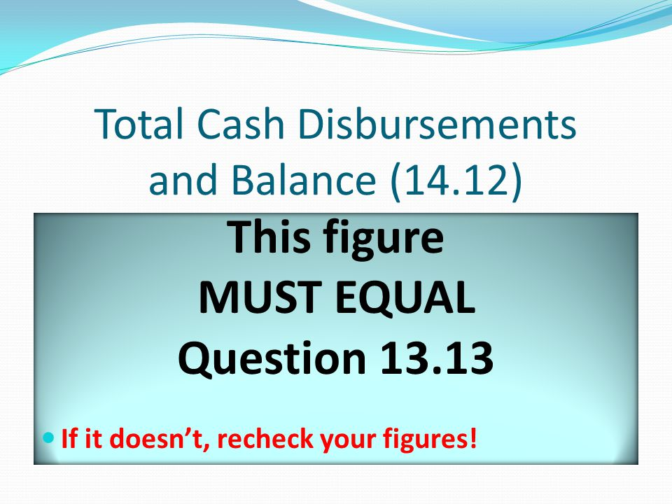 Total Cash Disbursements and Balance (14.12) This figure MUST EQUAL Question 13.13 If it doesn't, recheck your figures!