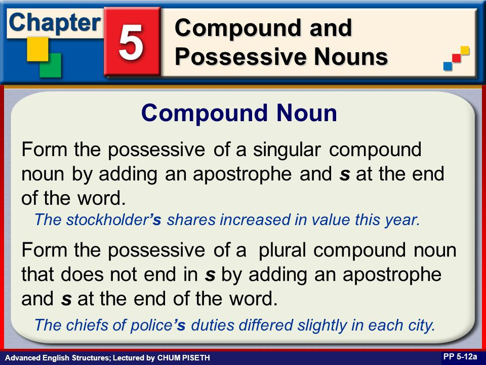 Business English at Work Compound and Possessive Nouns Compound Noun PP 5-12a Form the possessive of a singular compound noun by adding an apostrophe and s at the end of the word.