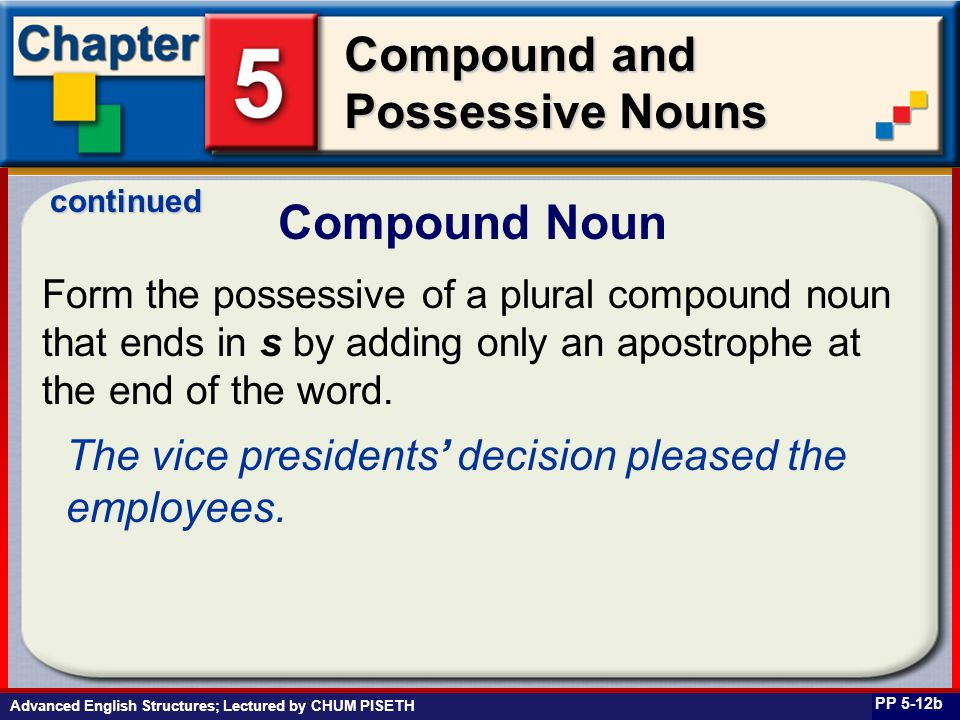 Business English at Work Compound and Possessive Nouns Compound Noun PP 5-12b Form the possessive of a plural compound noun that ends in s by adding only an apostrophe at the end of the word.