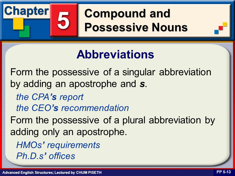 Business English at Work Compound and Possessive Nouns Abbreviations PP 5-13 Form the possessive of a singular abbreviation by adding an apostrophe and s.