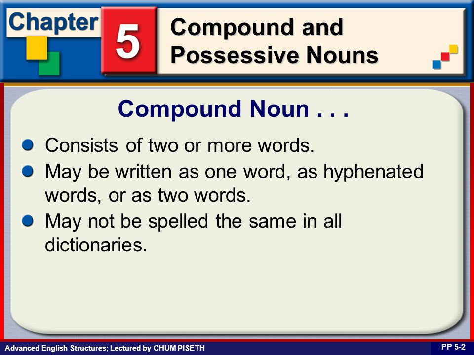 Business English at Work Compound and Possessive Nouns Consists of two or more words.