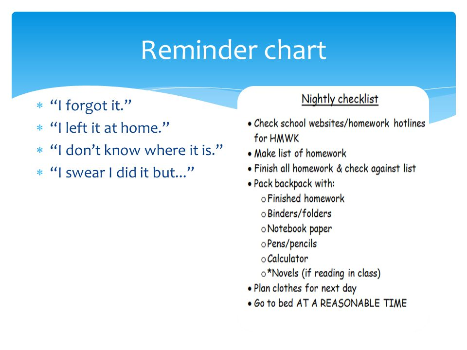 """Reminder chart  """"I forgot it.""""  """"I left it at home.""""  """"I don't know where it is.""""  """"I swear I did it but..."""""""