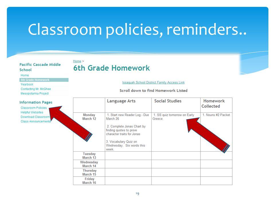 Classroom policies, reminders.. 19