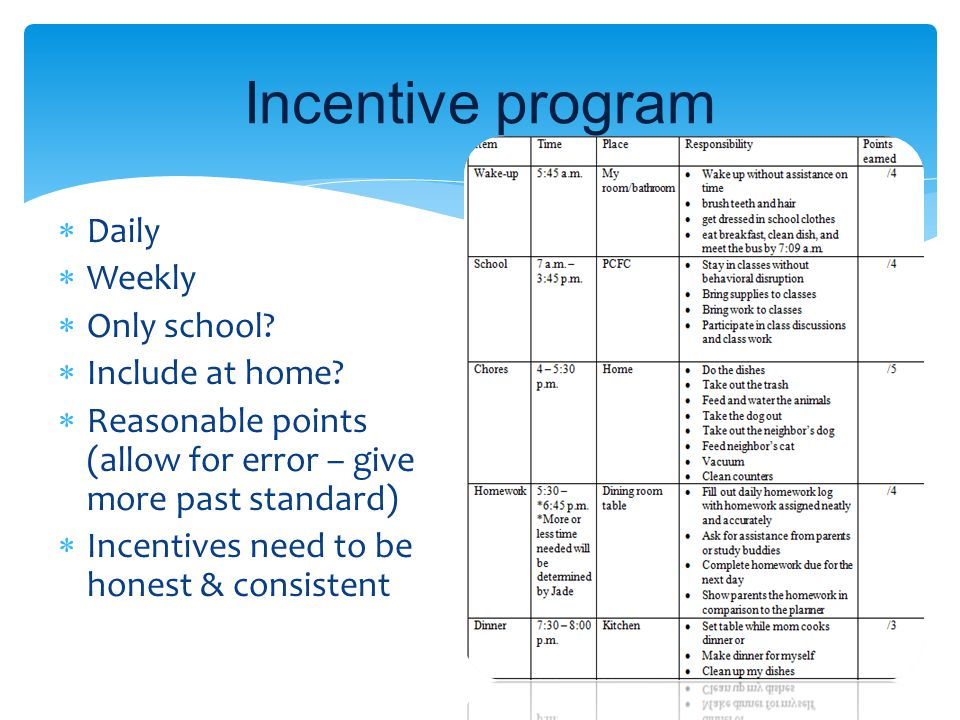 Incentive program  Daily  Weekly  Only school?  Include at home?  Reasonable points (allow for error – give more past standard)  Incentives need