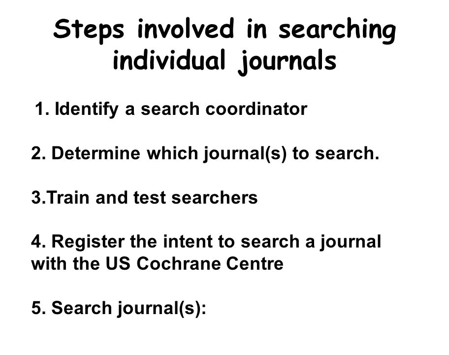Steps involved in searching individual journals 1.
