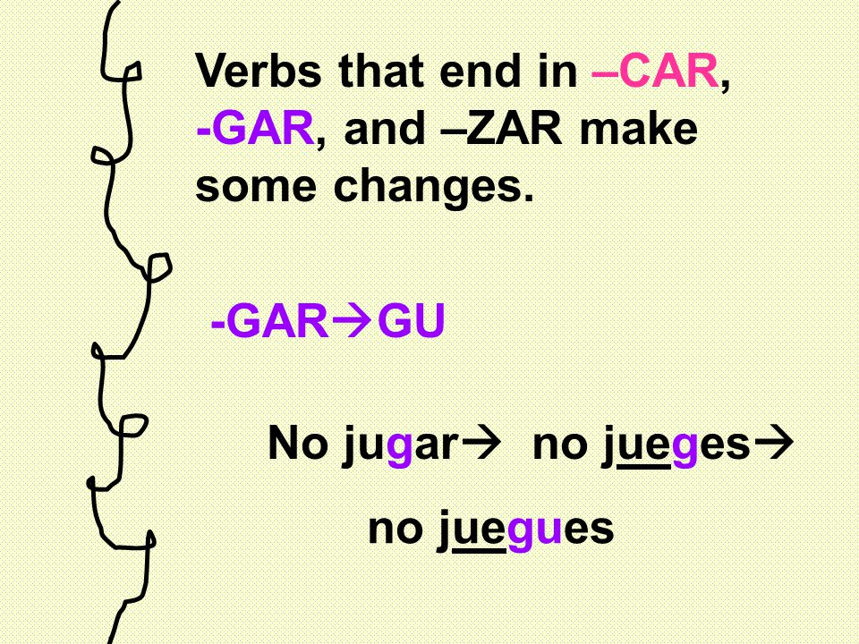 Verbs that end in –CAR, -GAR, and –ZAR make some changes.