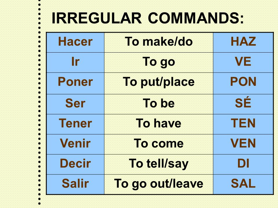 IRREGULAR COMMANDS: HacerTo make/doHAZ IrTo goVE PonerTo put/placePON SerTo beSÉ TenerTo haveTEN VenirTo comeVEN DecirTo tell/sayDI SalirTo go out/leaveSAL