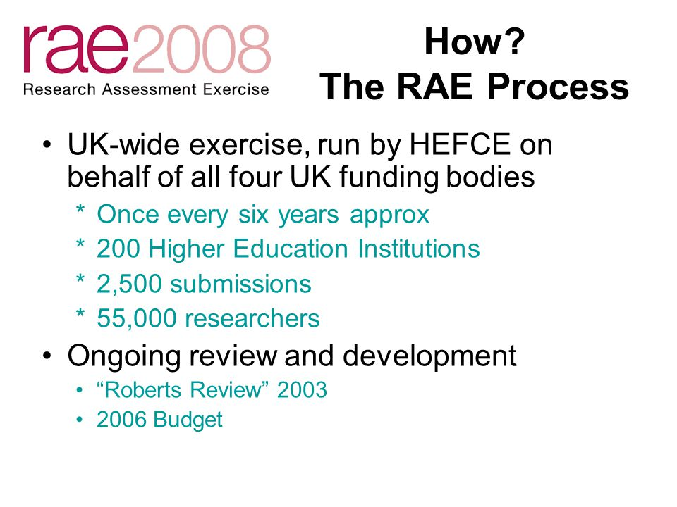 How? The RAE Process UK-wide exercise, run by HEFCE on behalf of all four UK funding bodies *Once every six years approx *200 Higher Education Institu