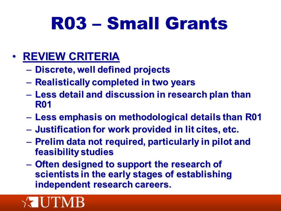 R03 – Small Grants REVIEW CRITERIAREVIEW CRITERIA –Discrete, well defined projects –Realistically completed in two years –Less detail and discussion in research plan than R01 –Less emphasis on methodological details than R01 –Justification for work provided in lit cites, etc.