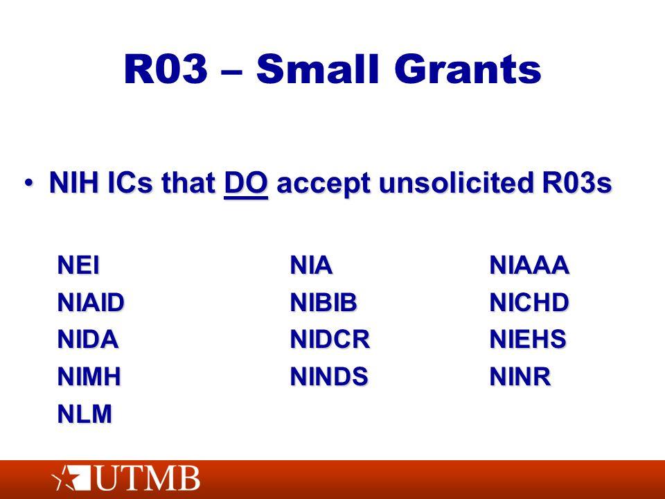 R03 – Small Grants NIH ICs that DO accept unsolicited R03sNIH ICs that DO accept unsolicited R03s NEINIANIAAA NIAIDNIBIBNICHD NIDANIDCRNIEHS NIMHNINDSNINR NLM