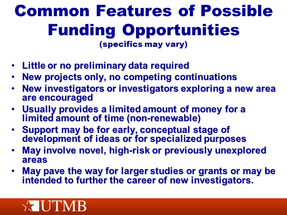 Common Features of Possible Funding Opportunities (specifics may vary) Little or no preliminary data requiredLittle or no preliminary data required New projects only, no competing continuationsNew projects only, no competing continuations New investigators or investigators exploring a new area are encouragedNew investigators or investigators exploring a new area are encouraged Usually provides a limited amount of money for a limited amount of time (non-renewable)Usually provides a limited amount of money for a limited amount of time (non-renewable) Support may be for early, conceptual stage of development of ideas or for specialized purposesSupport may be for early, conceptual stage of development of ideas or for specialized purposes May involve novel, high-risk or previously unexplored areasMay involve novel, high-risk or previously unexplored areas May pave the way for larger studies or grants or may be intended to further the career of new investigators.May pave the way for larger studies or grants or may be intended to further the career of new investigators.