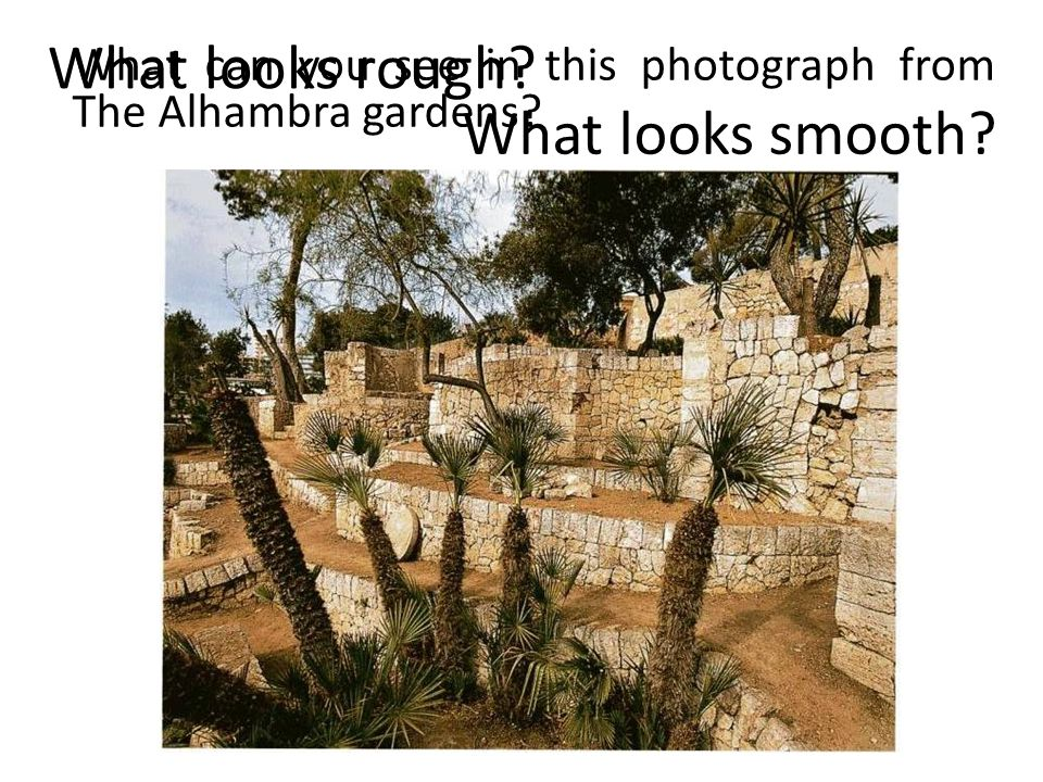 What can you see in this photograph from The Alhambra gardens What looks rough What looks smooth