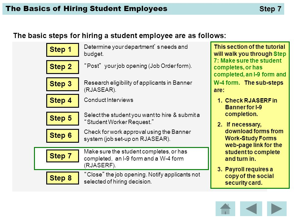The Basics of Hiring Student Employees The basic steps for hiring a student employee are as follows: This section of the tutorial will walk you throug